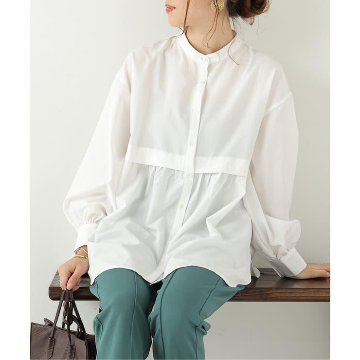 スパンブロード切替ギャザーシャツ | frames RAY CASSIN | 詳細画像1