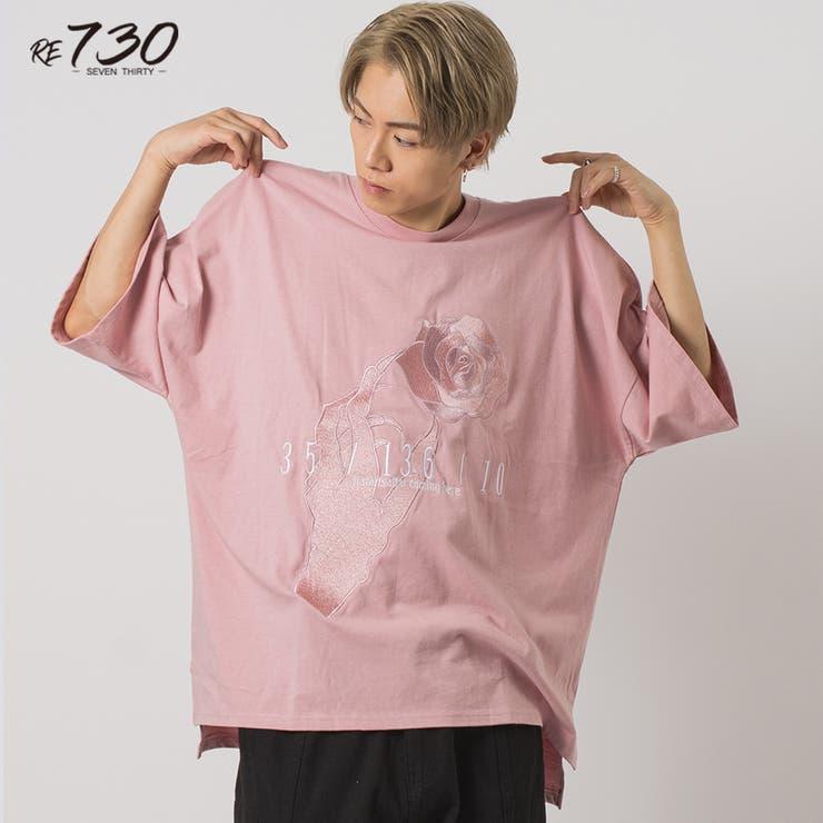 ローズ刺繍モンスタービッグシルエットTシャツ   REGIEVO   詳細画像1
