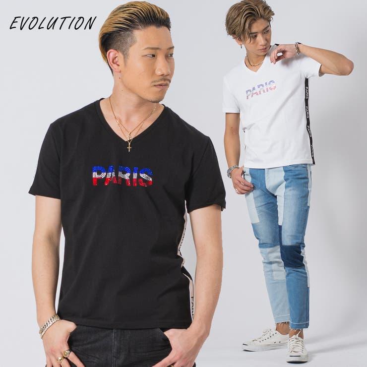 ラインストーンVネックTシャツ | REGIEVO | 詳細画像1
