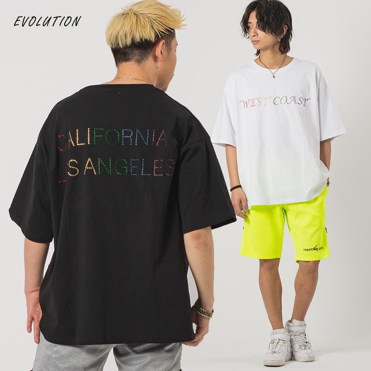 ラインストーンロゴビッグシルエット Tシャツ   REGIEVO   詳細画像1