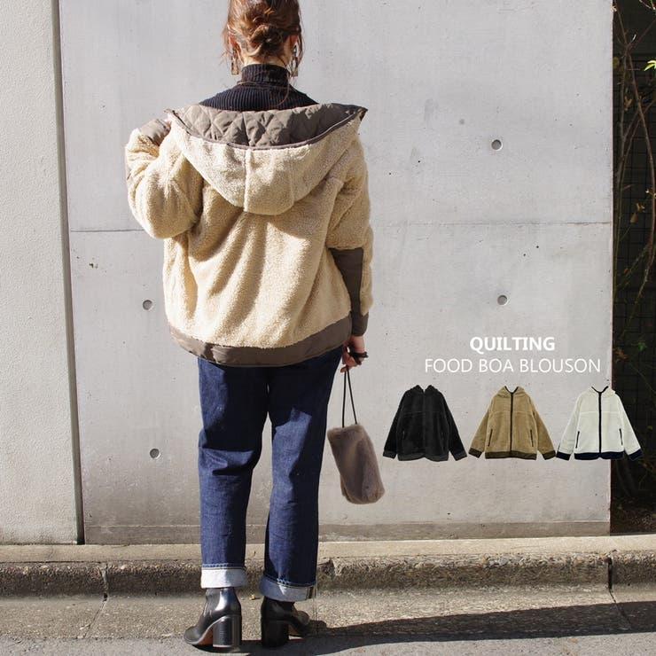 ボアブルゾン冬プチプラゆったり軽量軽い配色デザインママファッションM大きいサイズ… | LAPULE  | 詳細画像1