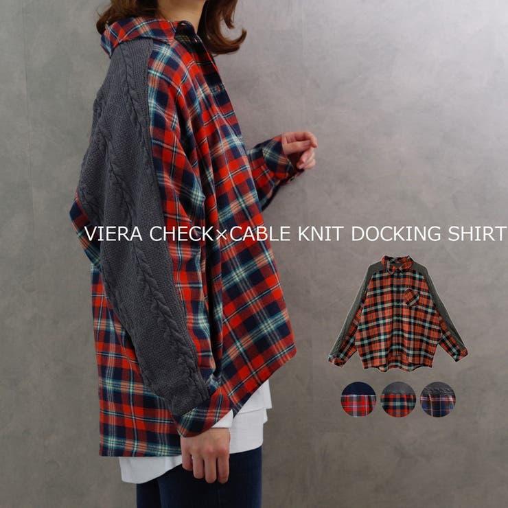 シャツチェックシャツ長袖レディースファッション秋冬30代40代ゆったり体型カバードッキングシャツニットケーブルニット   詳細画像