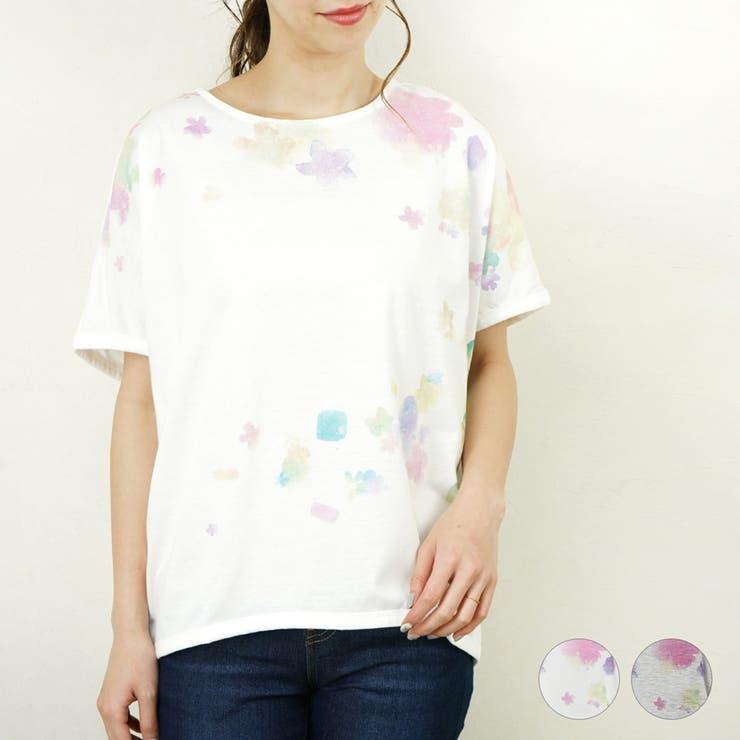 Tシャツ半袖プリントドルマン花柄レディースファッション春夏30代20代40代ゆったり大きめ体型カバープチプラ   詳細画像
