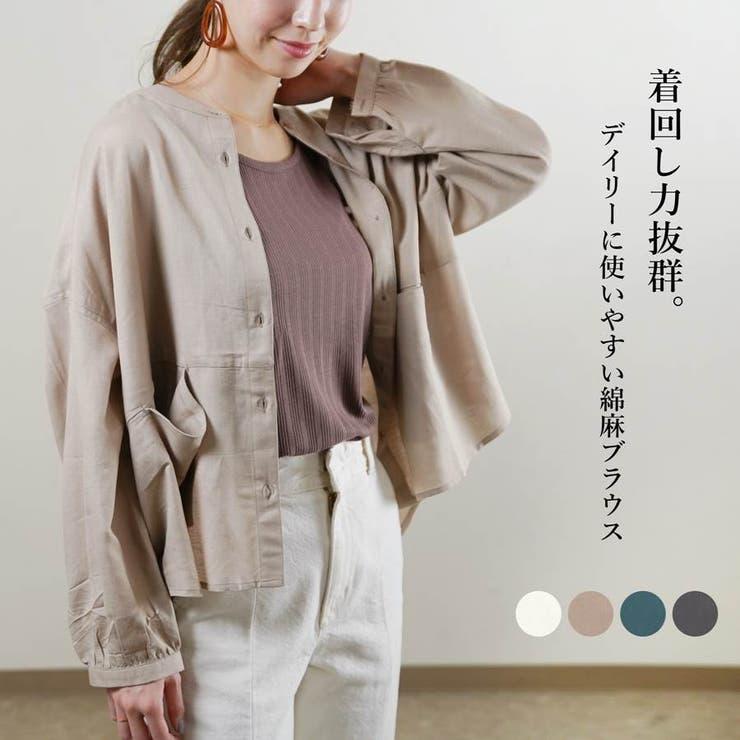 ブラウスシャツ長袖バンドカラー40代ゆったり大きめ体型カバードルマン綿麻韓国ファ… | LAPULE  | 詳細画像1