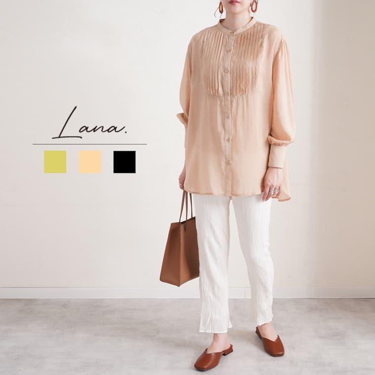 ピンタックシアーブラウス レディース ファッション | LAPULE  | 詳細画像1