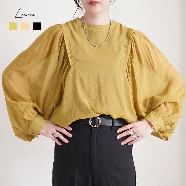 バックリボンボリューム袖シアーブラウス レディース ファッション   LAPULE    詳細画像1