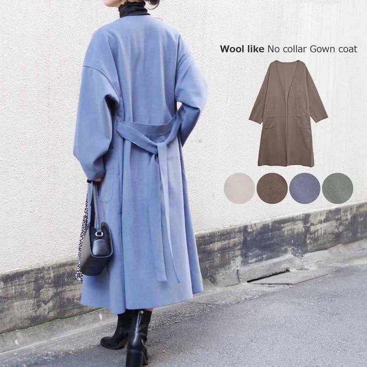 ロングコートノーカラーコートアウターガウンコート冬大きめゆったり体型カバーきれい…   LAPULE    詳細画像1