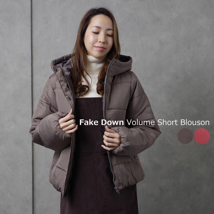 エコダウンジャケットフェイクダウン中綿ショート丈レディースファッション秋冬30代40代シンプルプチプラフード付き | 詳細画像
