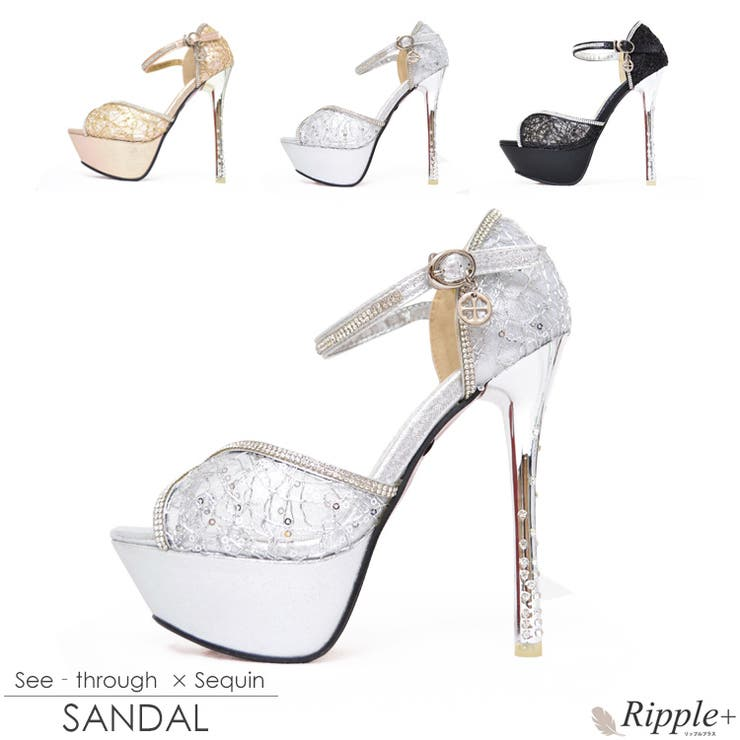 パンプス キャバ サンダル 靴 シースルー×スパンコールサンダル 14cmヒール パンプス キャバクラ キャバ嬢 ハイヒール 厚底