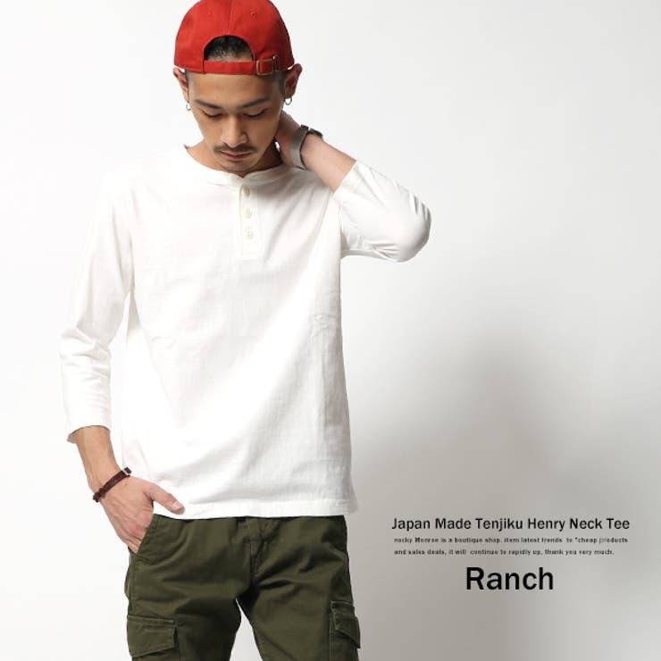 Tシャツ メンズ 無地 日本製 国産 七分袖 シンプル 天竺編み 丸胴 ヘンリーネック カットソー Ranch.daily wearproducts RDW-006 6337【Sサイズ】