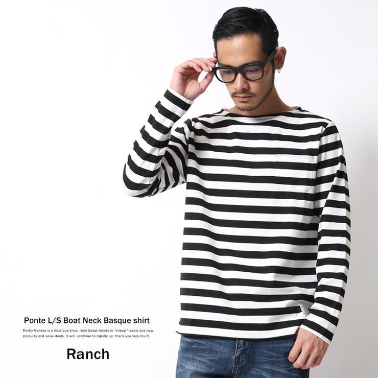 バスクシャツ メンズ ボーダー ボートネック ポンチ素材 長袖 ロンT Ranch ランチ RA16-056 6395