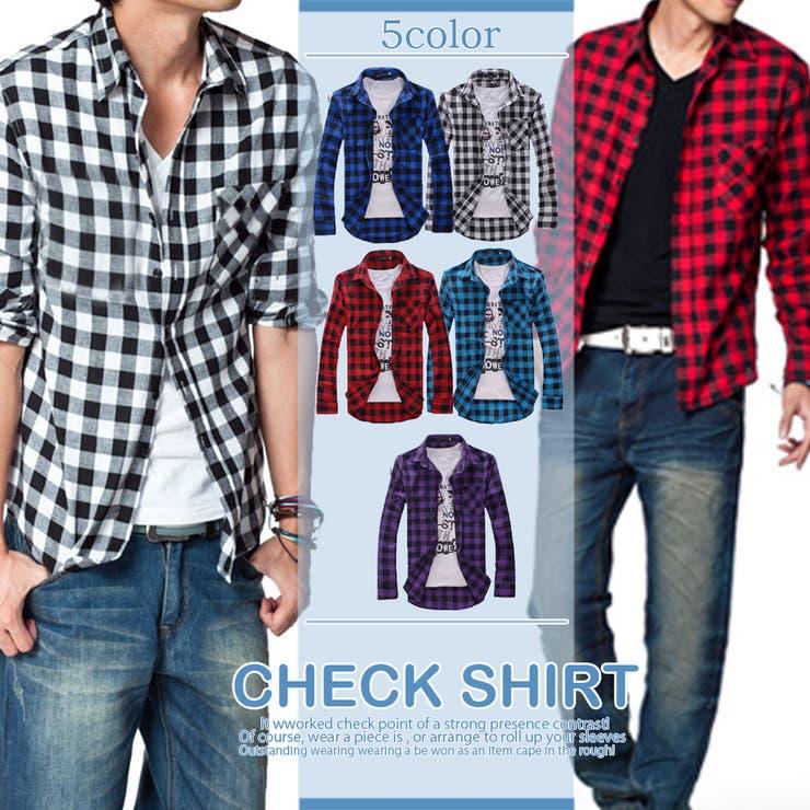 トップス シャツ チェック チェックシャツ メンズ メンズファッション 長袖 長袖シャツ 長袖チェックシャツ ボタン ブロックチェック