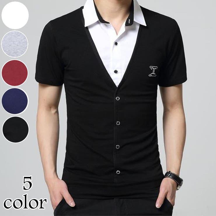 トップス 半袖 半袖シャツ メンズ メンズファッション 重ね着風 重ね着シャツ レイヤード 異素材 デザイン デザインシャツ