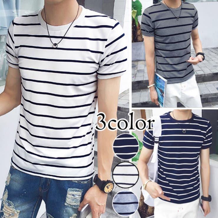 トップス Tシャツ ボーダーTシャツ シンプルTシャツ ボーダーT メンズ メンズファッション ベーシック ベーシックTシャツUネック UネックTシャツ 半袖
