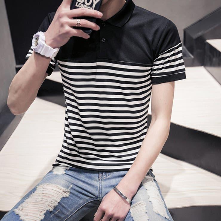 トップス ポロシャツ 半袖 半袖シャツ メンズ メンズファッション ボーダー スポーティー スポーツ カジュアル