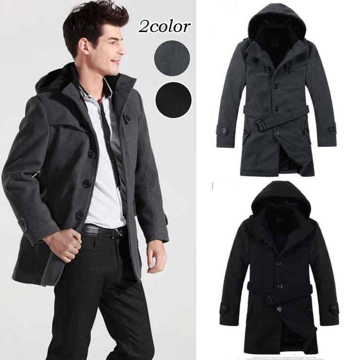 アウター コート ジャケット メンズ メンズファッション ロングコート ロング丈 シンプル 無地 ベーシック フード付きフード付きコート