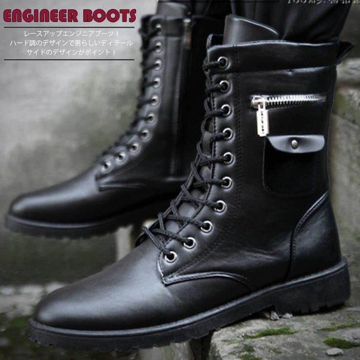 靴 シューズ ブーツ ショートブーツ ミドルカット メンズ メンズファッション エンジニア エンジニアブーツ ロックレースアップブーツ レースアップ