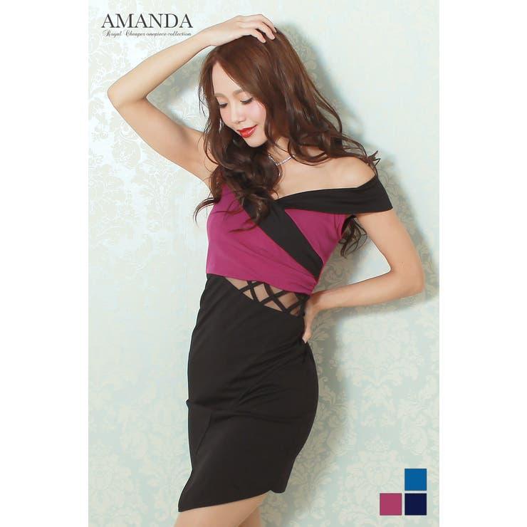 【AMANDA】【M】【全3色】バイカラー×オフショルダーミニタイトドレス | Royal Cheaper | 詳細画像1