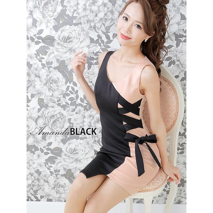 【amanda BLACK】【S.M】バイカラーリボンタイトミニドレス ピンク   Royal Cheaper   詳細画像1