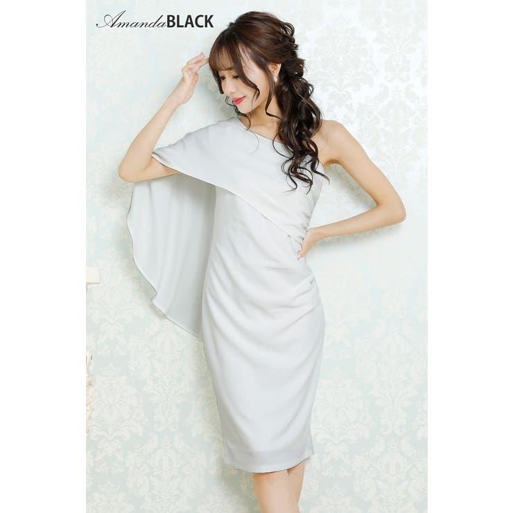 【amanda BLACK】フェイクケープワンショルダータイトミニドレス   Royal Cheaper   詳細画像1