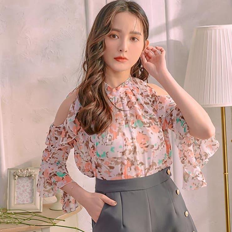 レディースファッション通販シフォン肩見せ花柄トップス花柄 トップス ブラウス   Ruby's Collection    詳細画像1