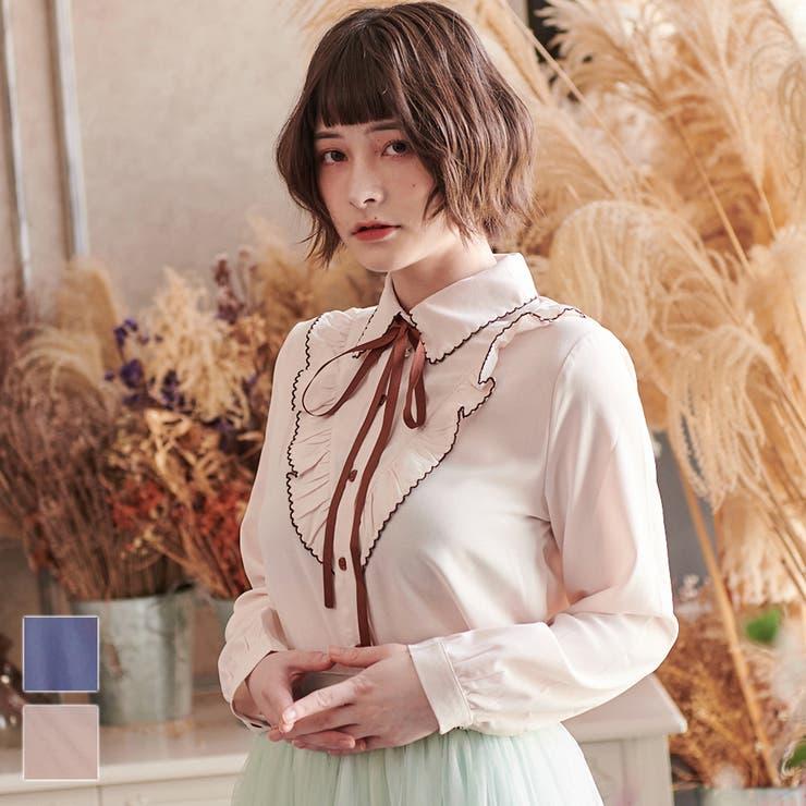 レディースファッション通販Vデザインフリルリボンタイブラウス クラシカル かわいい | Ruby's Collection  | 詳細画像1