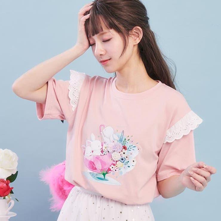 レースフリルうさぎデザインTシャツカットソー トップス Tシャツ   Ruby's Collection    詳細画像1