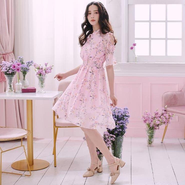 肩スリットシフォン花柄5分袖ワンピースワンピース ドレス ワンピ | Ruby's Collection  | 詳細画像1