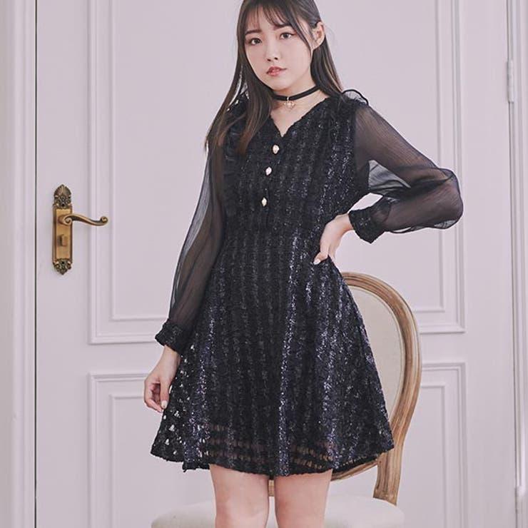 袖透け感ラメデザインミニワンピ ワンピース ミニワンピ | Ruby's Collection  | 詳細画像1