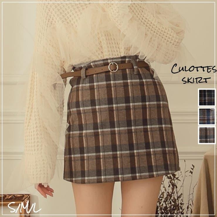 レディースファッション通販チェック柄ウール素材ミニスカートパンツ   Ruby's Collection    詳細画像1