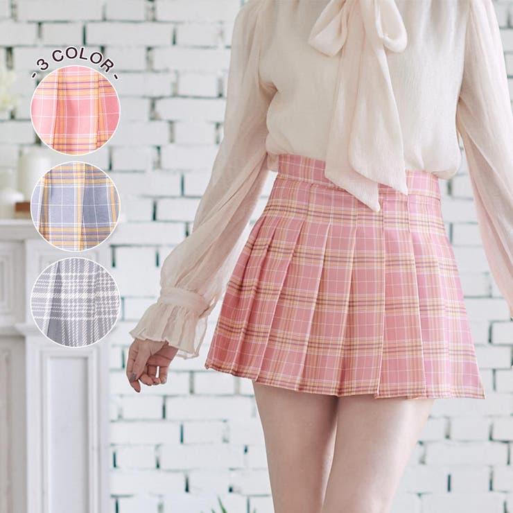 チェック柄プリーツミニスカート風ショートパンツ ミニ丈 ボトムス | Ruby's Collection  | 詳細画像1