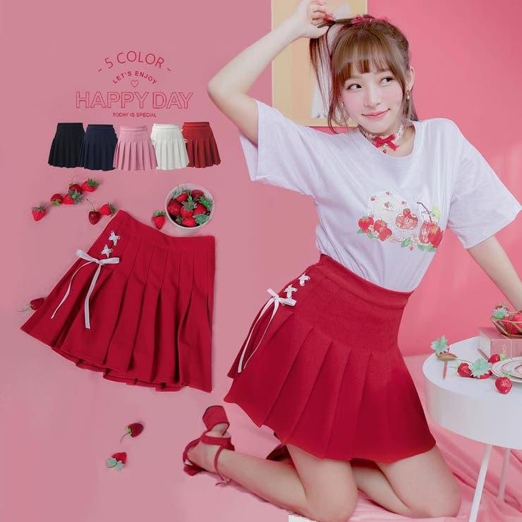 サイドレースアッププリーツインパンミニスカート プリーツスカート ミニスカート   Ruby's Collection    詳細画像1