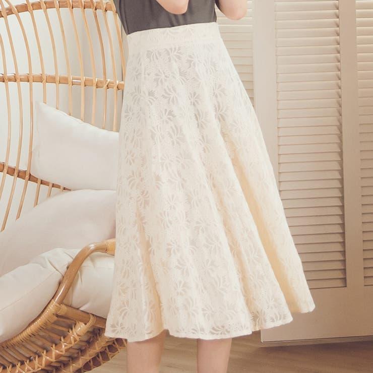 レディースファッション通販ミモレ丈レースフレアスカート レース 女子会 | Ruby's Collection  | 詳細画像1