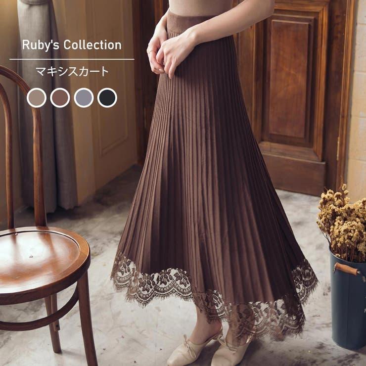 レディースファッション通販ニットソー素材のレース裾プリーツスカートプリーツスカー…   Ruby's Collection    詳細画像1