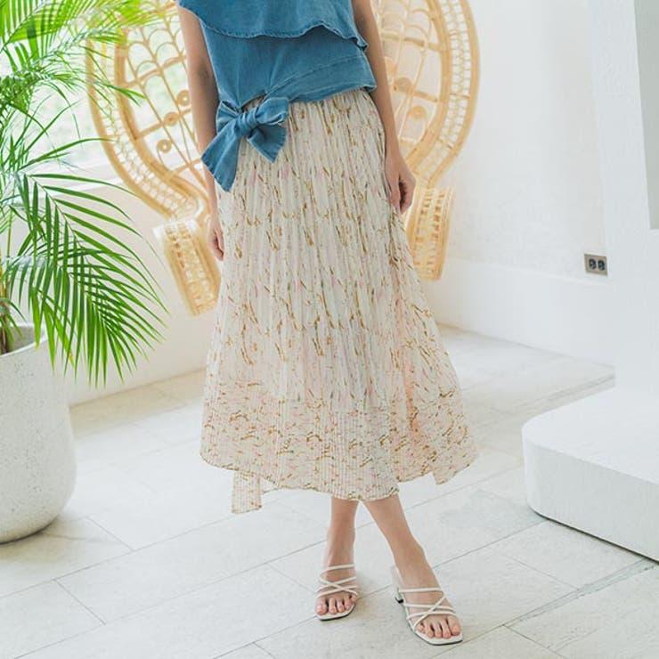 花柄プリーツランダムヘムデザインスカートロングスカート プリーツスカート 花柄   Ruby's Collection    詳細画像1