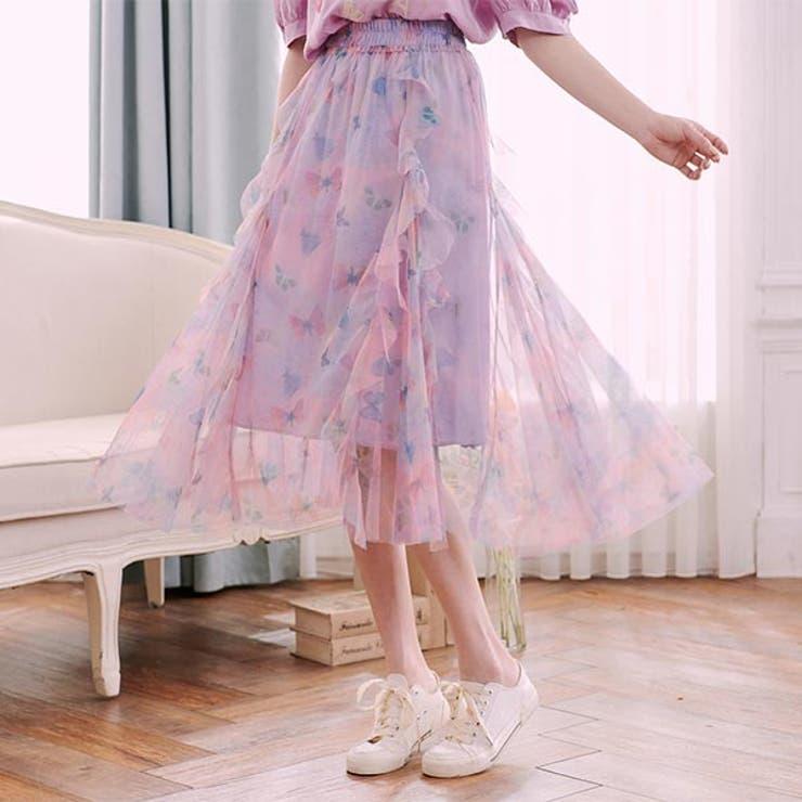 ドレープフリル花柄シフォンロングスカートスカート チュールスカート シフォン | Ruby's Collection  | 詳細画像1