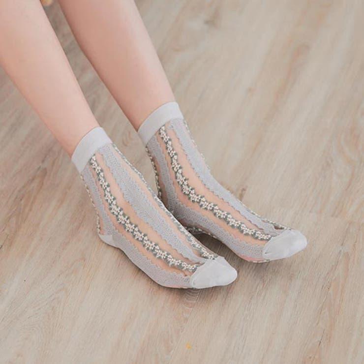 連なる小花の透け感シースルーソックス 靴下 ソックス | Ruby's Collection  | 詳細画像1