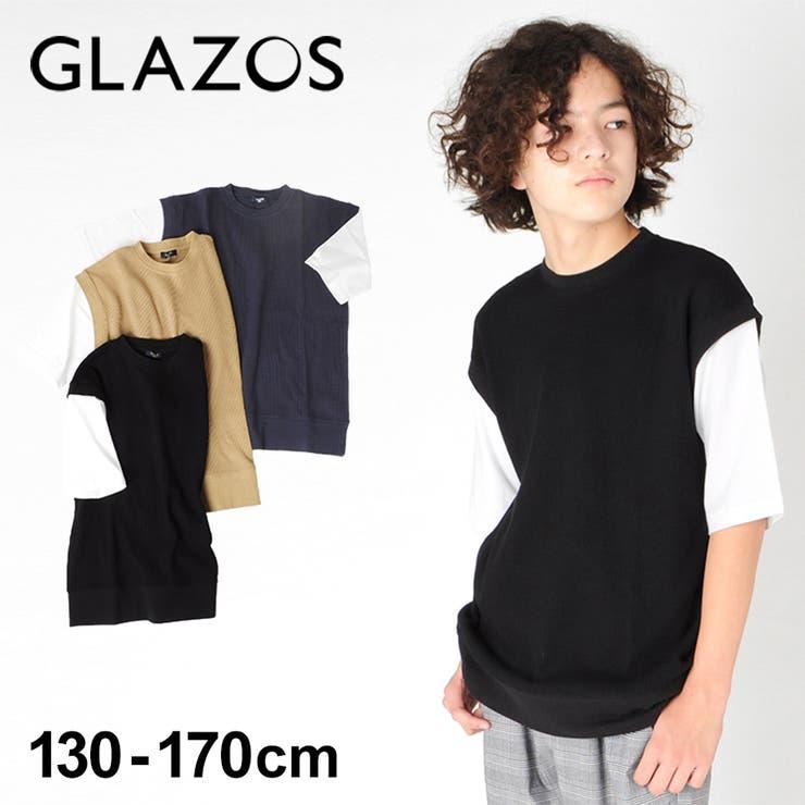 ワッフル フェイクレイヤード5分袖Tシャツ 子供服 | 子供服のS&H | 詳細画像1