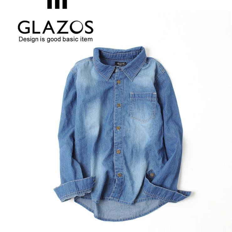 【GLAZOS】ダンガリーシャツ[インディゴ]100-160cm 子供服 男の子 キッズ ジュニア 羽織 薄手 秋冬
