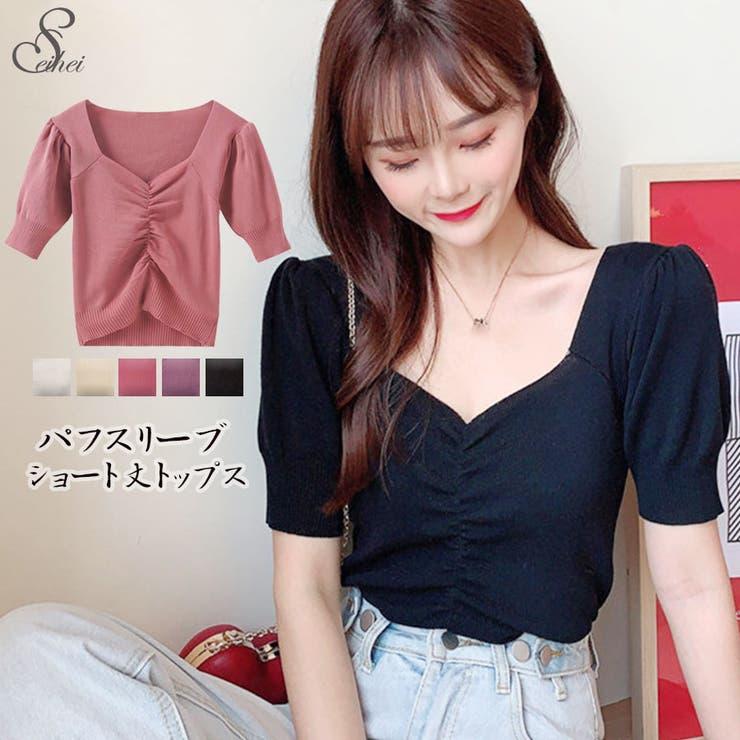 韓国ファッション VネックTシャツ ショート丈   seiheishop   詳細画像1