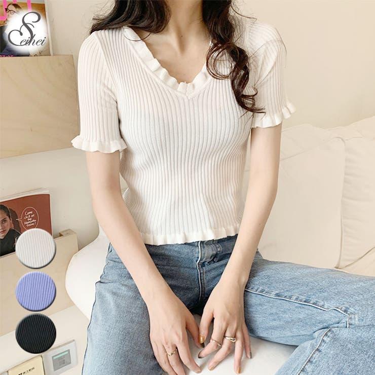 韓国ファッション VネックTシャツ カットソー   seiheishop   詳細画像1