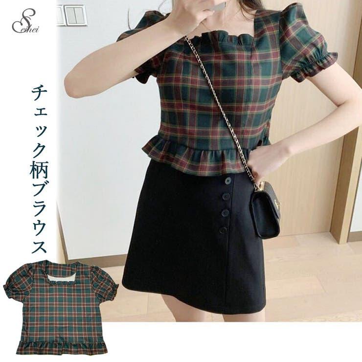 韓国ファッション チェック柄スクエアネックブラウス 短め   seiheishop   詳細画像1