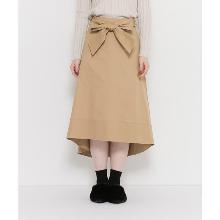 ウエストリボンミディスカート