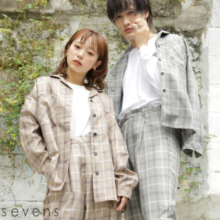 210516 エステル先染めチェック開襟シャツ レディースファッション | sevens | 詳細画像1