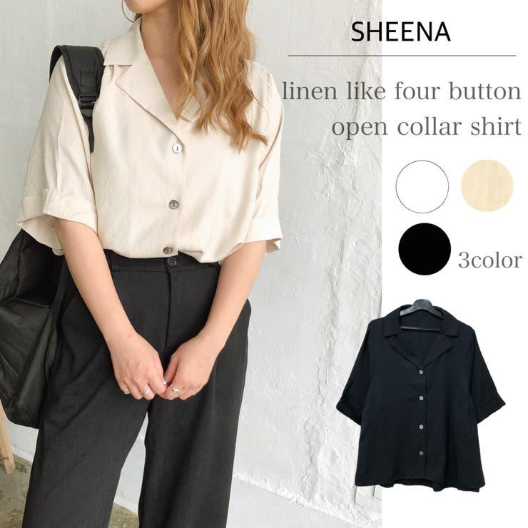 リネンライク4釦ゆったり開襟シャツ シャツ ブラウス | SHEENA  | 詳細画像1