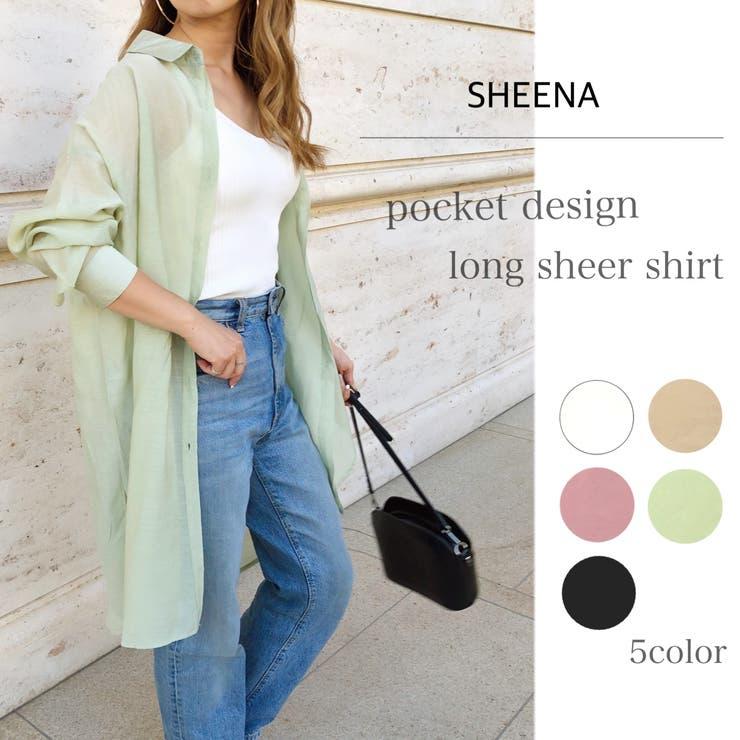 胸ポケット付きゆったりロングシアーシャツ シャツ ブラウス   SHEENA    詳細画像1