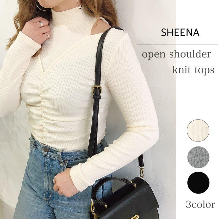 センターシャーリング肩開きニットトップス 梅春 春 | SHEENA  | 詳細画像1