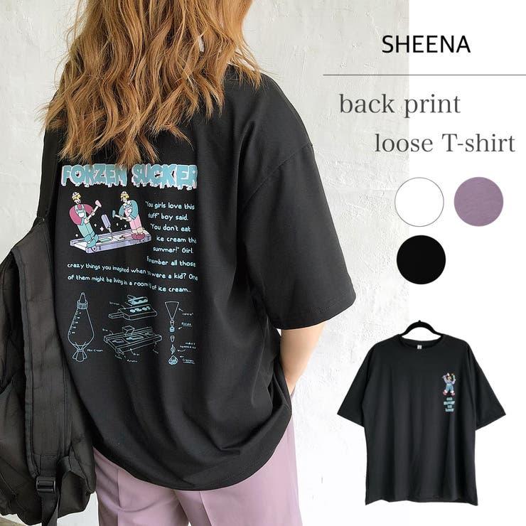 ICEバックプリントルーズTシャツ 春 夏 | SHEENA  | 詳細画像1