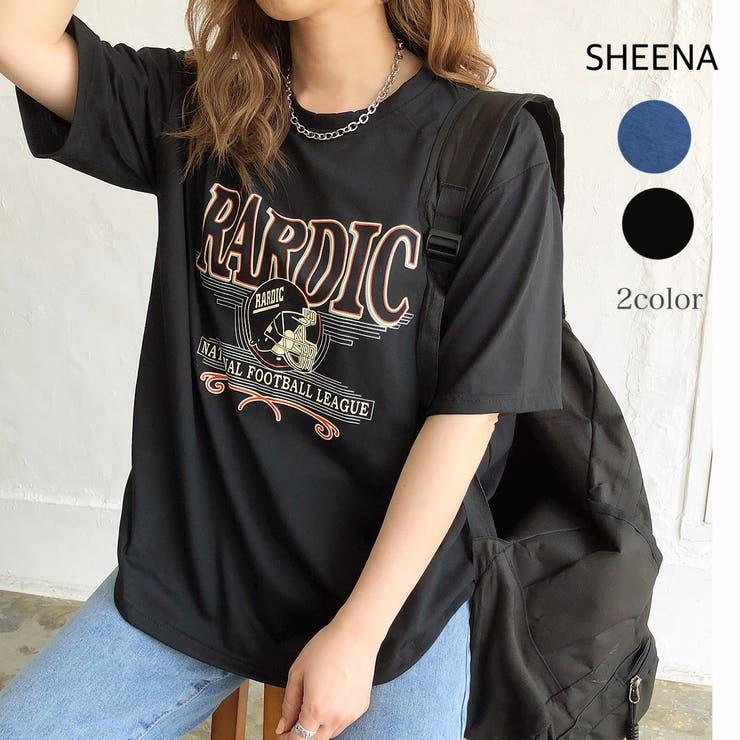 アメフトプリントルーズTシャツ 春 夏 | SHEENA  | 詳細画像1