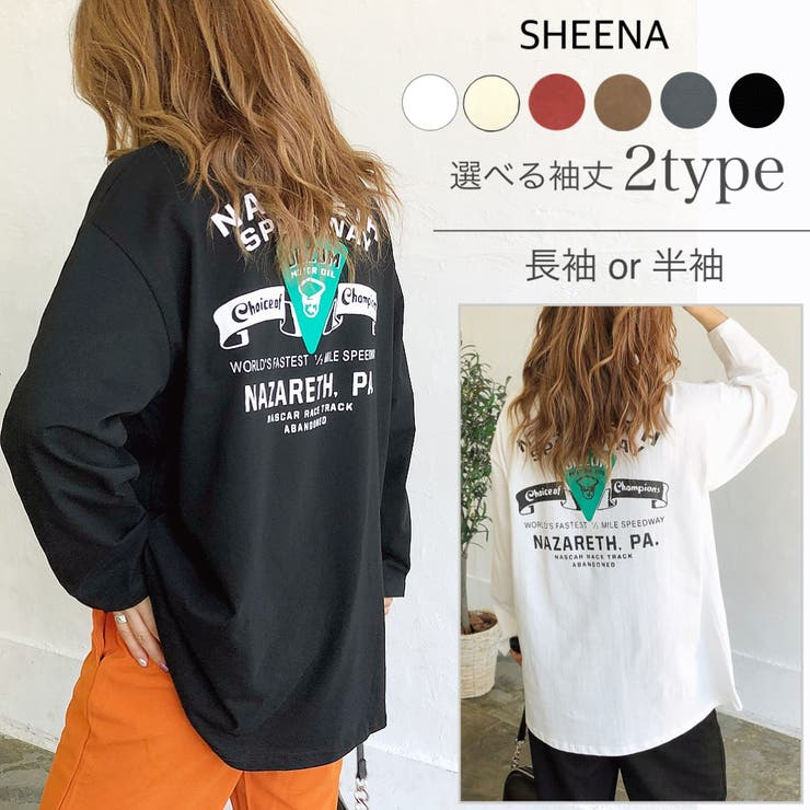 SPEEDWAYバックプリントルーズTシャツ ロンT Tシャツ | SHEENA  | 詳細画像1